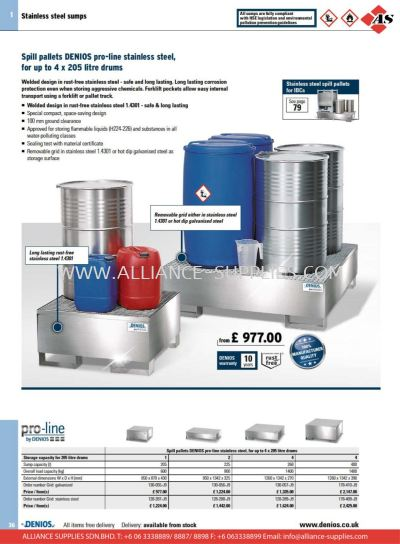 17.01.3 Spill Pallets for Drums and Small Containers in Stainless Steel
