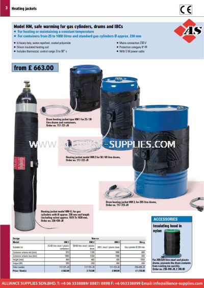 17.03.1 Drum, Gas Cylinder and IBC Heating Jackets