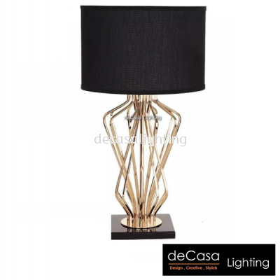 DESIGNER TABLE LAMP BLACK WITH GOLD HOLDER