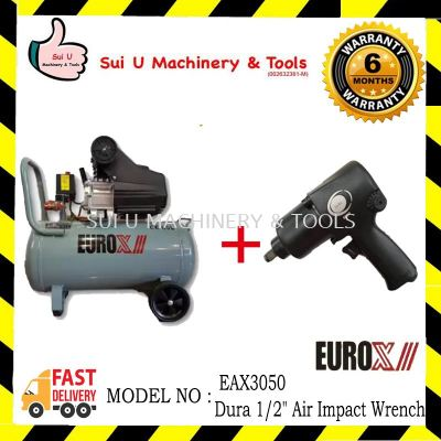"Eurox EAX-3050 Air Compressor 3hp 50litre with Dura 1/2"" Air Impact Wrench"