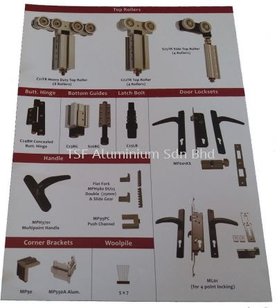 Sliding Door Lock Set and Accessories