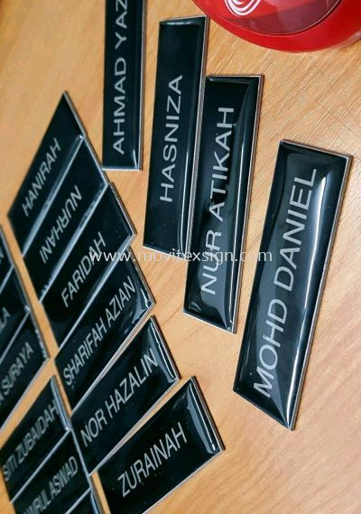 name tag epoxy coating or logo branding