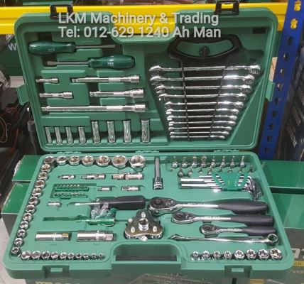 Sata 121pcs 1/4' + 3/8' + 1/2' Dr.Socket Set 09014A(Free 1 pcs 2 way oil filter wrench and 1pcs x-beam combination wrench)