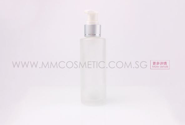 (KA) 100ml Frosted Bottle with white pump +Silver Ring Cap