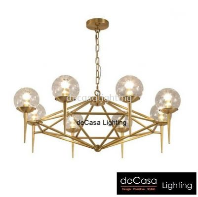 Chandelier Gold Series 8 Light Bulb
