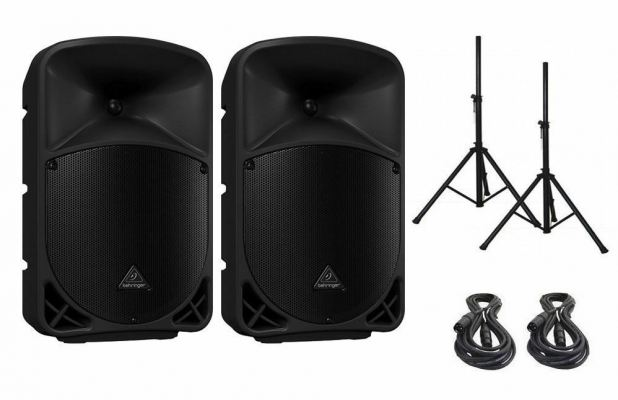 2 Behringer B110D Active PA Speaker System 300W 300 Watts Cable Stand Package