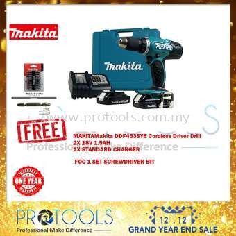 MAKITA DDF453SYE 18V 13MM CORDLESS DRIVER DRILL C/W 2PC 1.5Ah 18V BATTERY & CHARGER