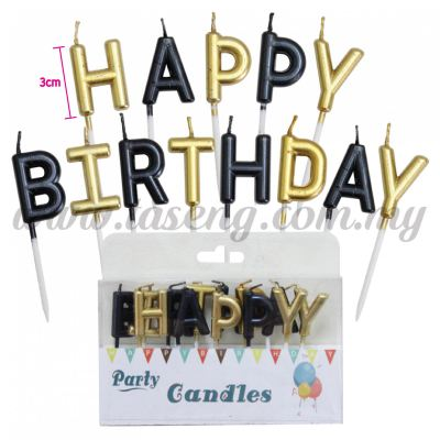 Candle Happy Birthday Set * Gold & Black (CDL-HB-H0053-GO)