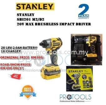 SBI201D2 STANLEY 20V MAX BRUSHLESS IMPACT DRIVER FOC 1 STANLEY 5M MEASURING TAPE - 2 years warranty
