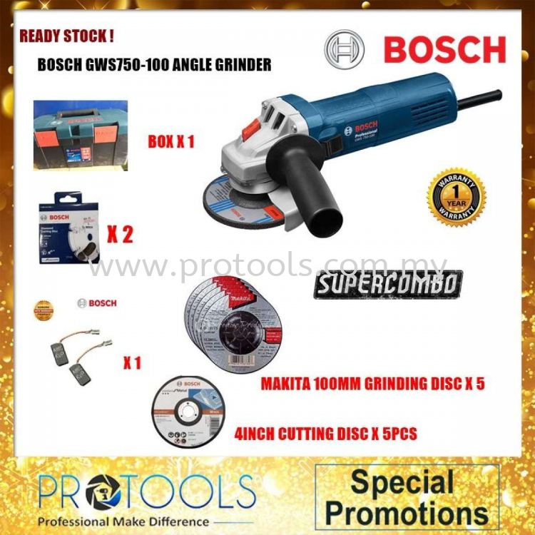 BOSCH GWS750-100 ANGLE GRINDER C/W FREE 1 SET x 2 PCS CARBON BRUSH & BOSCH TOOL BOX + 5 x MAKITA GRINDING DISC + 5 x CUTTING DISC (LIMITED UNIT)