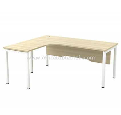 MUPHI 5' L-SHAPE EXECUTIVE OFFICE TABLE METAL OCTAGON LEG C/W WOODEN MODESTY PANEL ASWL 552