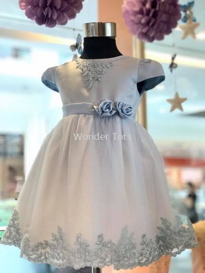 Girl Embroidered Princess Dress in Light Blue