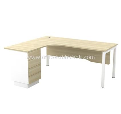 MUPHI 5' L-SHAPE EXECUTIVE OFFICE TABLE METAL OCTAGON LEG C/W WOODEN MODESTY PANEL & FIXED PEDESTAL 4D ASWL 552-4D