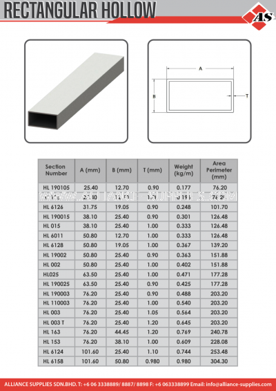 Aluminium Profile Rectangular Hollow