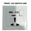 TENOC 13A SWITCH SOCKET + 2 PCS USB LIGHTING ACCESSORIES / BALLAST