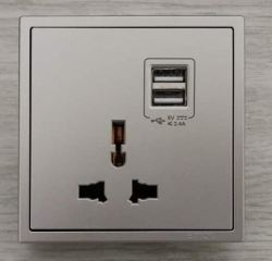 SIMON 45E725 10A UNIVERSAL SOCKET OUTLET WITH DOUBLE USB CHARGING OUTLET(5V 2A)