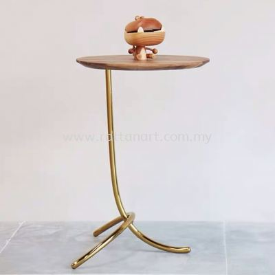 WOOD + METAL SIDE TABLE GOLDEN