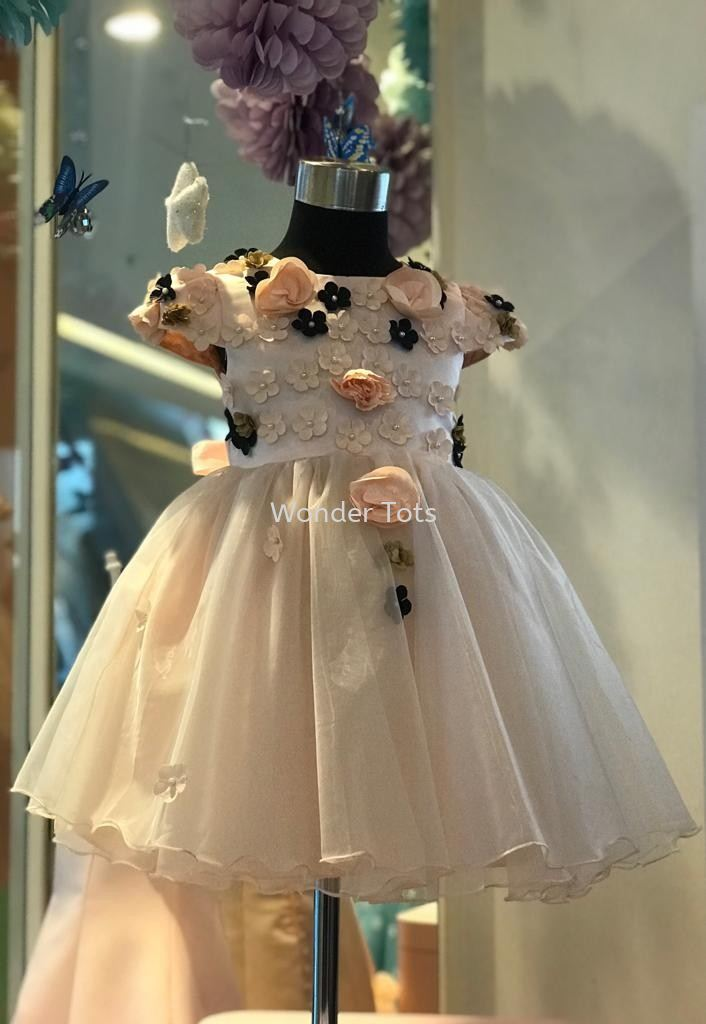 Kids Party Dress - Peach 1-4y