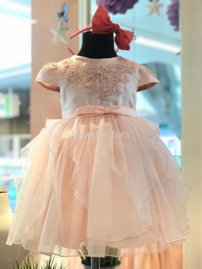 Kids Party Dress - Peach 1-4y