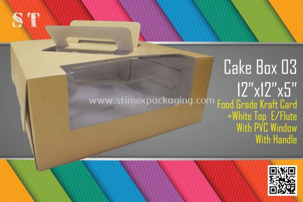 12x12x5inch Cake Box with Handle @ 15pcs