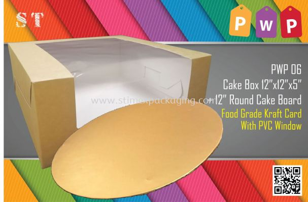PWP 06 12inch Cake Box + Cake Board @ 15sets
