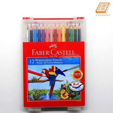 Faber-Castell - 12 Water Colour Pencils + Brush, 2B Pencil ,Sharpener - (114562)