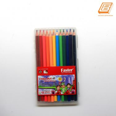 Faster - 12 Colours Fabulous Colour Pencils - (Cp-F-712)