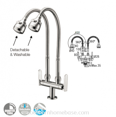 Double Pillar Sink Tap Flexible Hose IT7049SL5