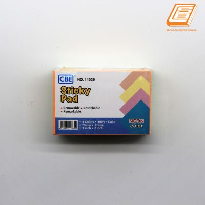 CBE - 4 Neon Colours Sticky Pad - (No. 14039)