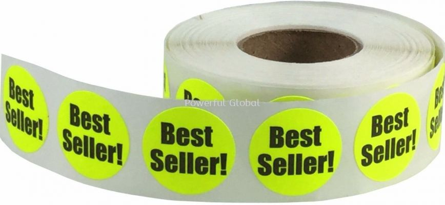 Fluorescent Yellow Best Seller Circle Stickers