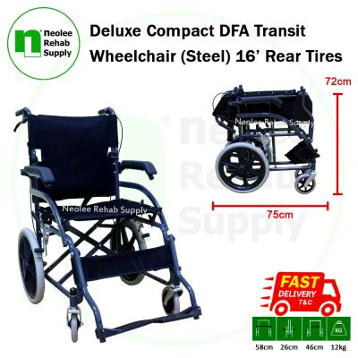 NL45-S-16 Deluxe Compact DFA Transit Wheelchair - 16' (Steel)