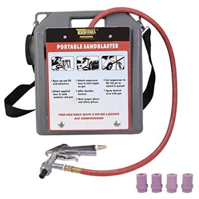 30 lbs Portable Handheld Air Sandblaster Kit Tools Blasting Gun Hose w/4 Nozzles ID31058