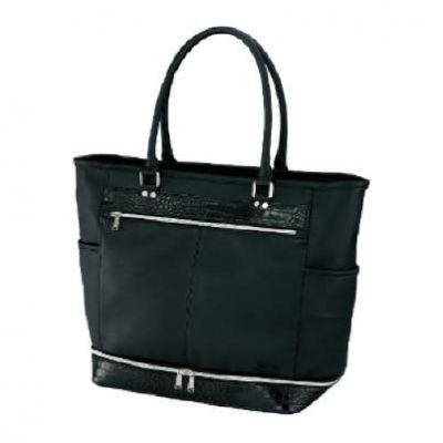PU DOUBLE (2-STAGE) TOTE BAG BLACK COLOR