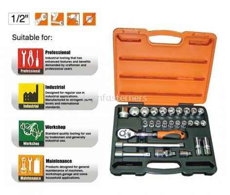 "MK-TOL-4627-06P 27PCS 1/2"" DR.SOCKET SET"