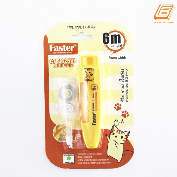 FASTER - Animal Series Correction Tape Refillable +  Refill - 5mm x 6m - ( CT-F-625VP)