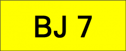 Number Plate BJ7 Superb Classic Plate