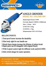 SEMPROX INDUSTRIAL ANGLE GRINDER(115MM)