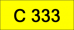 Number Plate C333 Rare Classic Plate