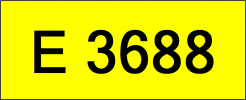 Number Plate E3688 Rare Classic Plate