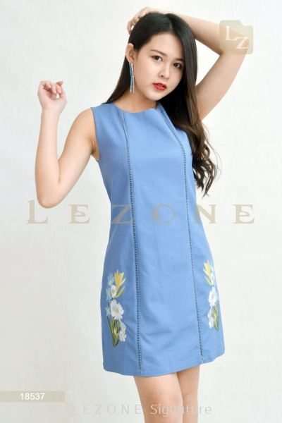 18537 EMBROIDERED A-LINE DRESS��Online Exclusive Promo 35% OFF��