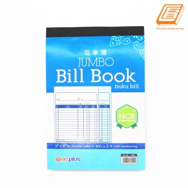 One Plus - NCR Bill Book 2ply - 2 x 80Sheets , 131mm x 193mm -(J582)