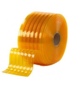 PVC STRIP CURTAIN CLEAR YELLOW RIBBED SIZE : 3MM x 300MM x 50MTR
