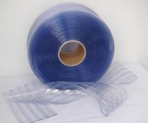 PVC CURTAIN CLEAR BLUE RIBBED SIZE : 3MM THK x 300MM x 50MTR
