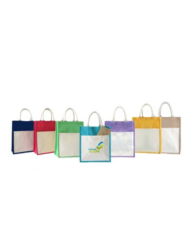 JUTE238 Jute Bag With Canvas Campartment