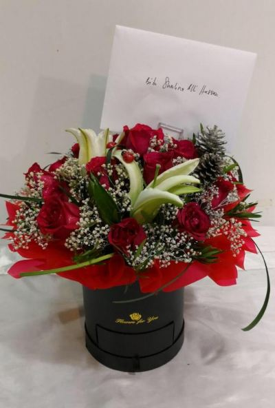 Round Shape Box With Red Roses (BF-833)