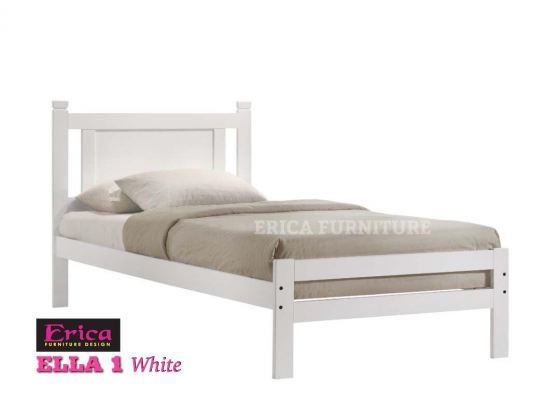 ELLA 1 WHITE SINGLE WOODEN BED