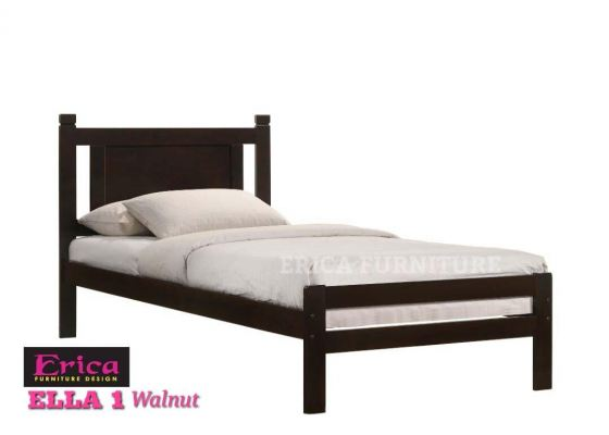 ELLA 1 WALNUT SINGLE WOODEN BED