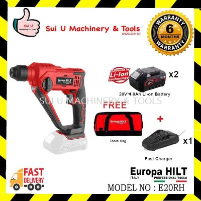 Europa Hilt E20RH Cordless Rotary Hammer 1.8J With Starter Kit 4.0 (2pcs 20v 4.0ah Battery, 1pc Charger, 1pc Tool Bag)
