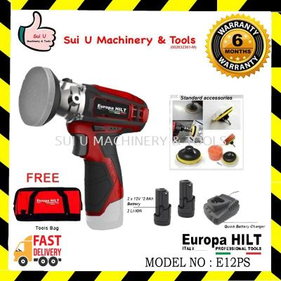 Europa Hilt E12PS Cordless Compact Polisher/Sander 12v With Starter Kit 2.0 (2pcs 12v 2.0ah Battery, 1pc Charger, 1pc Tool Bag)