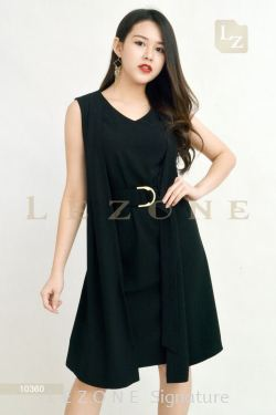 10360 PLUS SIZE WRAP V-NECK DRESS  【Online Exclusive Promo 41% OFF】